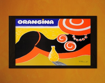 Vintage Orangina Poster - Vintage Print Retro Kitchen Decor Kitchen Poster Kitchen Prints Orangina  t