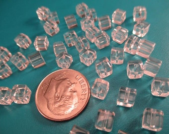 Package of 40 Clear Glass Cube Beads 4mm. Item:BC818768