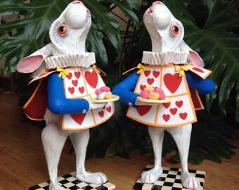 White Rabbit from Alice in Wonderland. Tea party centrepiece. Waiter pose. Hand-painted bespoke papier mache sculpture.