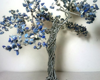 Wire tree with stones / tree of life  / gift with blue stones / bonsai
