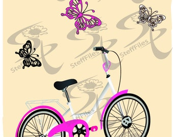 Butterfly_Vintag_Bicycle_Download files, Digital, graphical,SVG, AI, png, eps, jpg