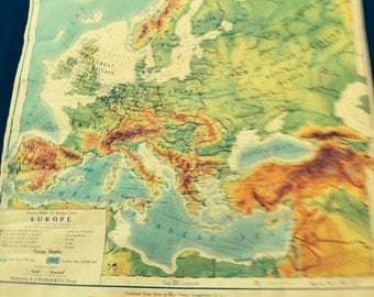 1940's vintage pictorial relief map of Europe published by A.J. Nystrom Co. Of Chicago.