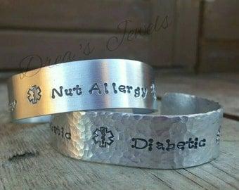 Aluminium medical ID bracelet ~  diabetic heart condition autism ~ allergy cuff, nut penicillin latex