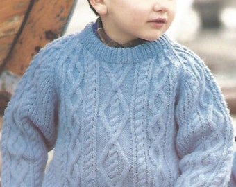 Vintage Knitting Pattern Childs Chunky Cabled Sweater  Pullover Raglan aran style  Knit jumper pdf download