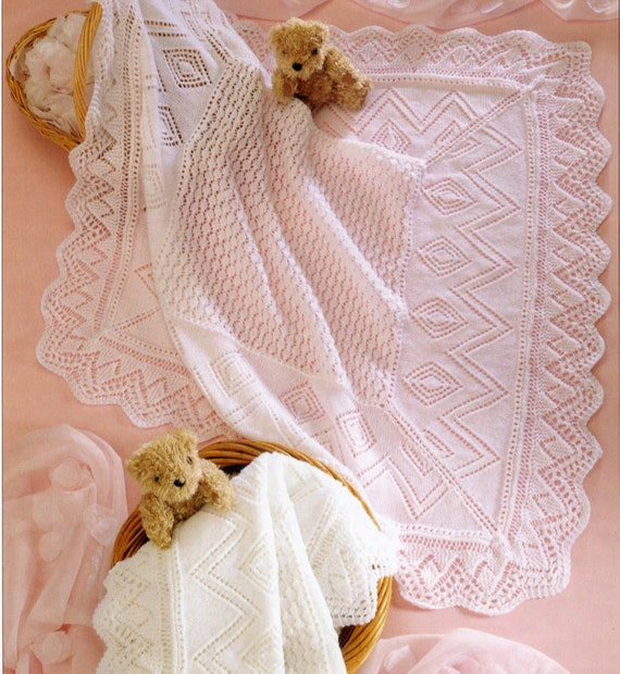 Vintage Knitting Pattern Baby Blanket : Knit Vintage Pattern Baby Pram Cover Throw Afghan blanket