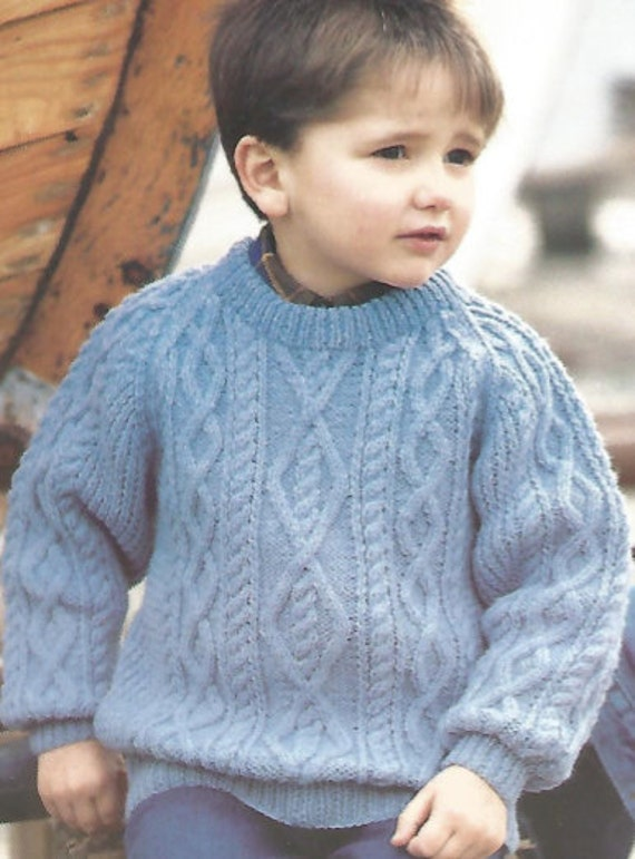 Knitting Pattern For Childs Chunky Cardigan : Vintage Knitting Pattern Childs Chunky Cabled Sweater