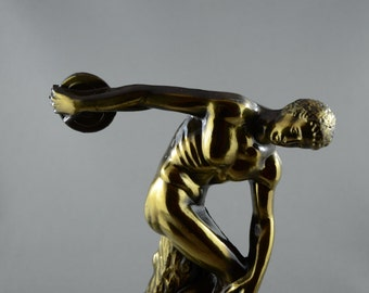 Vintage Bronzed Discus Thrower Sculpture Greek Athlete Statue Ancient Greece Olympic Games Discobolus Metal Sculpture Art Decor Replica