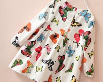 Girls Long Sleeve Dress, Girls Butterfly Dress, Church Dress, Party Dress, Fall Dress, Girls Cotton Dress.
