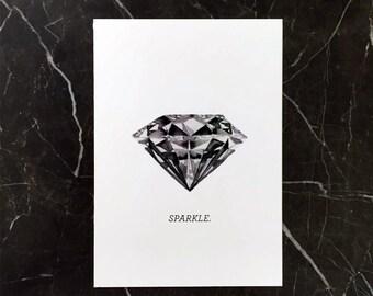 Sparkle! Handdrawn Diamond Illustration Watercolour Print