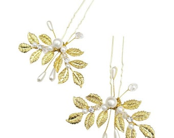 SET | 2 Gold Leaf Hairpins | Leaf & Pearl Hairpins | Gold Leaf Bridal Jewelry | Gold Leaf Hair Jewelry | Romantic Wedding Hair Accessories