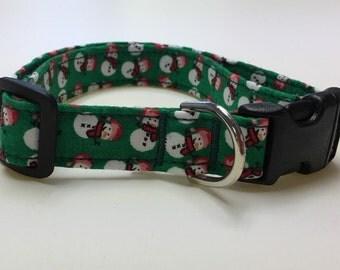 Adjustable Green Snowman Print Dog Collar