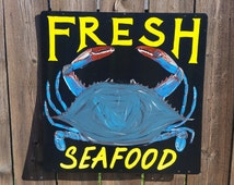 Fresh Seafood Maryland Blue Crab Hand Painted Metal Sign, seafood dealer or Restaurant sign