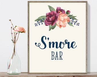 S'more Bar Sign DIY, Dessert Smores Sign / Burgundy Peony Berry Bouquet, Peach Blush Pink Ranunculus, Fall Wedding ▷ Instant Download JPEG