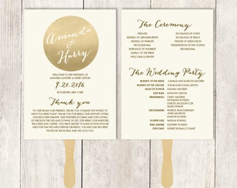 Gold Wedding Program DIY / Gold Sparkle Glitter / Metallic Gold and Cream  / Bridal Schedule ▷ Printable {or} Printed *** ASSEMBLY REQUIRED