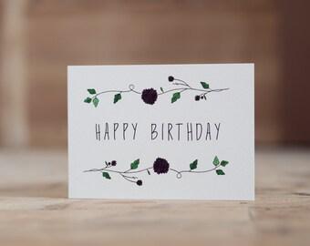 Purple Floral Happy Birthday Card
