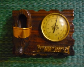 French Thermometer scale Shoe or wood clog and key holder decoration country kitsch