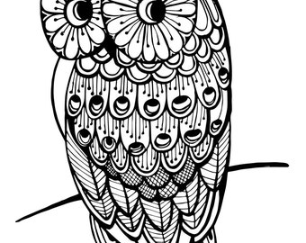 Owl-2 Printable Colouring in Page