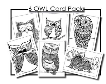 Adult Colouring in Cards - Owls