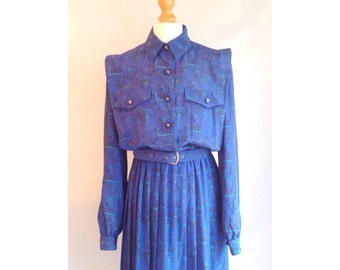 Cobalt Blue, Secretary Dress, Vintage 1980s Dress, Vintage 80s Dress, US 10, UK 12, European 40