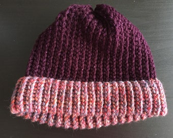 Adult Loom Knitted Hat