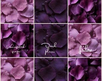 Plum Blend -1,000 Silk Rose Petals for Weddings, Flower Girl Baskets