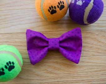 Dog Bow Tie, Purple Dog Bow Tie, dog bow, Dots, Polka Dot Dog Bow