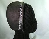 Black Cotton Coif with Faux Blackwork Trim - Renaissance