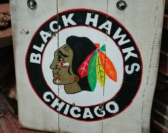 NHL Chicago Black Hawks hand painted sign on reclaimed wood