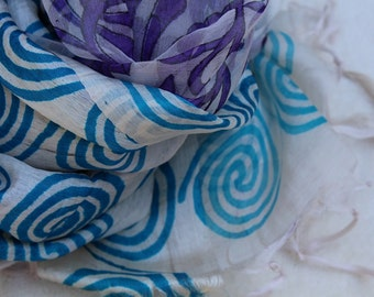 Pure Paper Silk Scarf- Hand Weaved and Hand Printed