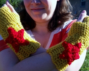 Crochet Superhero Wonder Woman Inspired Fingerless Gloves, Adult Size