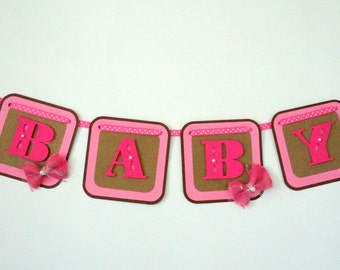 pink and brown baby shower banner .. pink and brown .. baby shoe .. baby shower