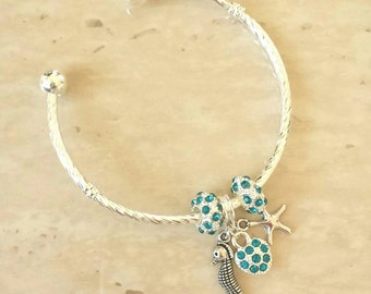SALE ~ Starfish Seahorse Heart Charm Turquoise Rhinestone Silver Plated Lined Bangle Bracelet 7.5 Inches
