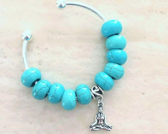 Padmasana Lotus Pose Yoga Charm Turquoise Bead Bangle Bracelet 7.5 Inches