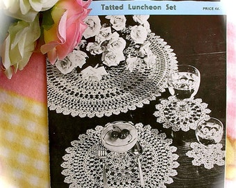 Vintage 50s Tatting Pattern Copy For A Superb Luncheon Set. 4 Sizes Of Mat.