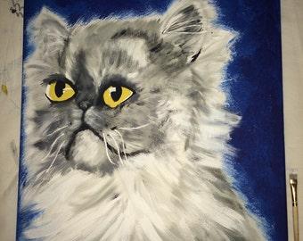 Custom cat acryllic painting