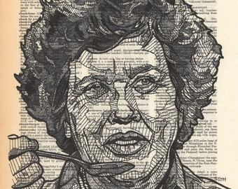 Julia Child Portrait on a Dictionary Page