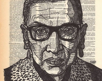 "Portrait of Ruth Bader Ginsberg on a dictionary page for the word ""justice"""