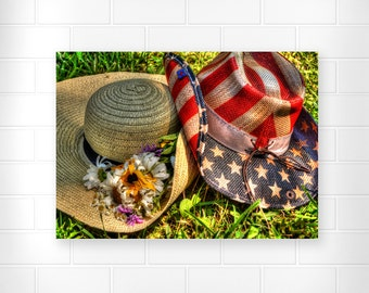 American Flag - Cowboy Hat - Country Home Decor - Cowgirl Hat - Rustic Home Decor - Patroitic Home Decor - Flower Photography - Wall Art