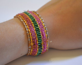 Pink and Green Beaded Woven Bracelet