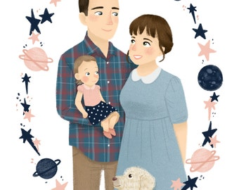 Custom Family Portrait Illustration with a Pet