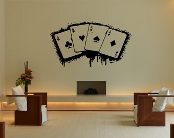 Wall Vinyl Sticker Decals Mural Room Design Pattern Art Decor Ace Card Game Play Fun Casino bo2098