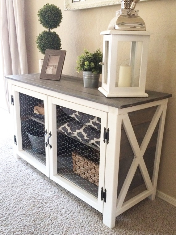 Rustic storage console by sweetnettajean on etsy - Entrance table with storage ...