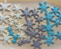 fondant snowflakes, 36 edible shimmering snowflakes  fondant cupcake toppers with shimmers frozen inspired white silver frozen blue light