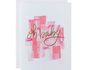 "Letterpress Baby Card, ""Oh Baby"", Baby Girl Card, Hand Lettering"