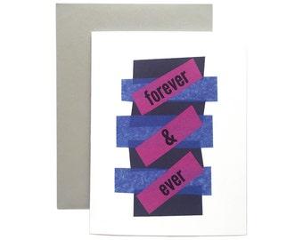 "Letterpress Love Card, ""Forever and Ever"", Modern, Minimalist, Geometric"