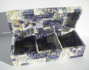 Handcrafted decoupaged wooden box, 'Letters in Lavender' range.  Beautiful boxes finished in a gloss lacquer, comes in three sizes...