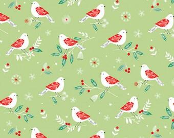 Festive Bird Print Cotton Fabric, Quilting Fabric,Patchwork Fabric, 100% Cotton