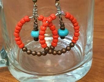 Orange and bronze earrings