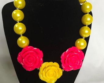 Yellow and Hot Pink Bubblegum Necklace
