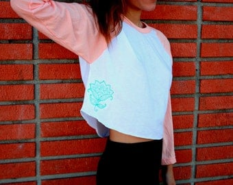 Cropped Baseball Tee With Embroidered Flower-Peach Baseball Tee-American Apparel Baseball Tee